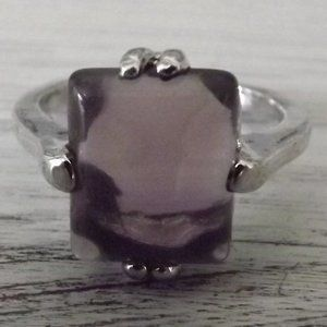 Genuine Amethyst Ring Silver Tone Setting Size 5.5